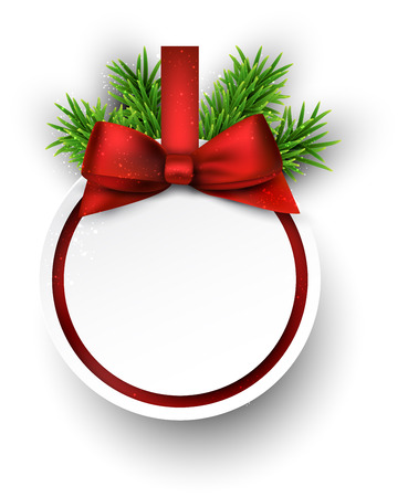 christmas concept: Christmas gift card with red ribbon and satin bow. Vector illustration.
