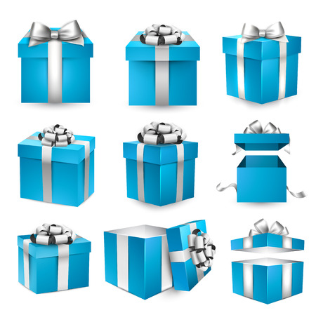 Collection of 3d gift blue boxes with satin silver bows. Realistic vector illustration.  Illustration
