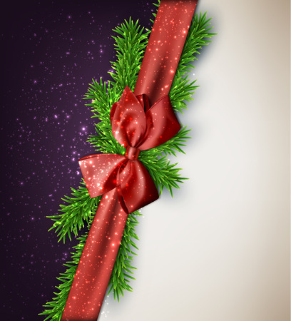 Winter background with crystallic snowflakes with red gift bow. Christmas fir tree decoration. Vector.  Vector