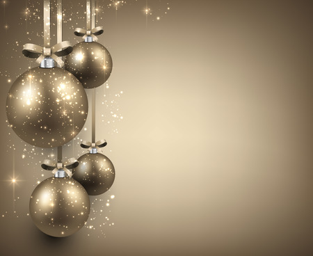 Abstract background with golden christmas balls. Vector illustration.  Vector