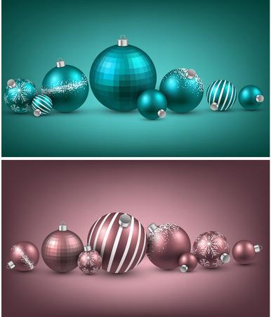 Set of colorful christmas balls. Vector illustration.   Vector