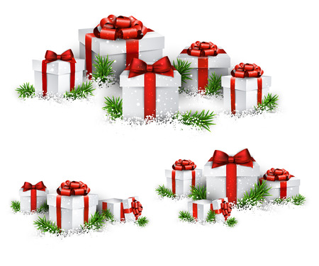 Christmas background with heaps of fir branches and realistic gift boxes. Vector illustration.  Vector
