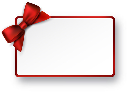 Christmas rectangle gift card with red satin bow. Vectores