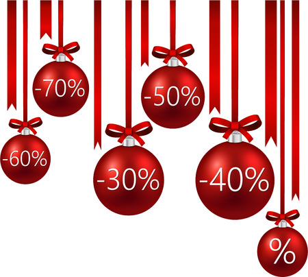 Set of red sale christmas balls   Vector