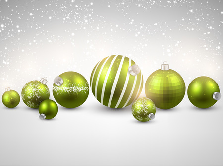 Winter background. Bright sparkles. Christmas green balls. Vector illustration. Vector