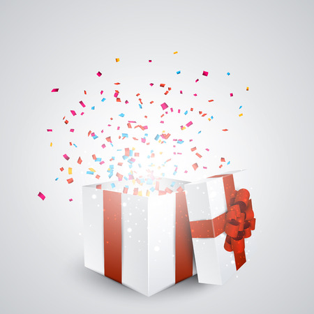 Opened 3d realistic gift box with red bow and confetti. Vector illustration. Vector