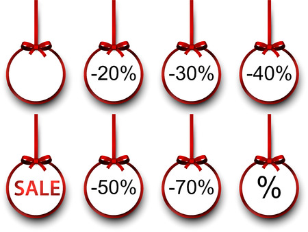 Sale and discount paper labels with red bows and ribbons. Vector. Vector