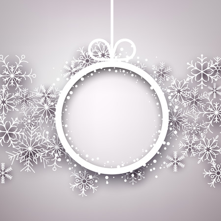 Christmas snowflakes background with paper round ball. Vector eps10. Vector