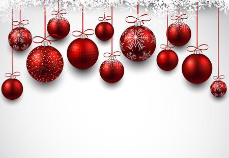 Sfondo astratto arco con palle di Natale rosso. Illustrazione vettoriale.