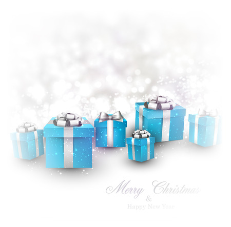 a holiday gift: Winter background. Fallen defocused snowflakes. Christmas blue gifts. Vector illustration.