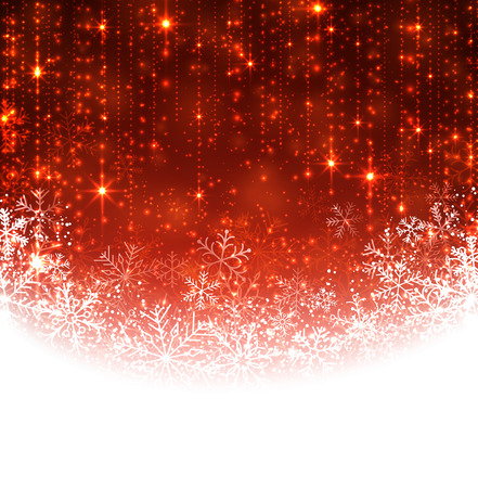 Red winter abstract background. Christmas background with snowflakes. Vector. Vector