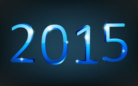 happy new year text: 3d text 2015 happy new year design. Vector illustration.