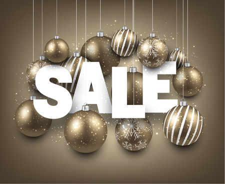 White sale sign with golden christmas baubles. Vector holiday illustration. Ilustrace
