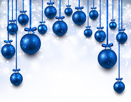 Abstract arc background with blue christmas balls. Vector illustration. Vector