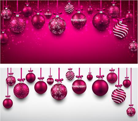 magenta decor: Abstract arc background with magenta christmas balls. Vector illustration. Illustration