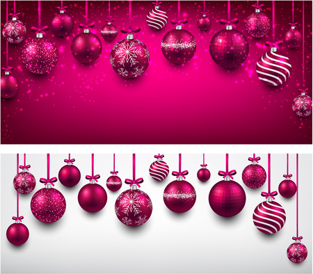 Abstract arc background with magenta christmas balls. Vector illustration. Vectores