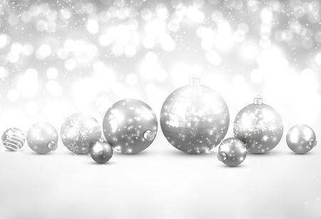silver balls: Winter background. Fallen defocused snowflakes. Christmas silver balls. Vector illustration.