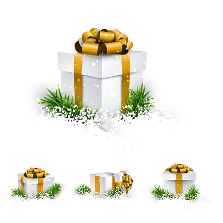 Collection of 3d christmas gift boxes with satin golden bows. Realistic vector illustration. Vector