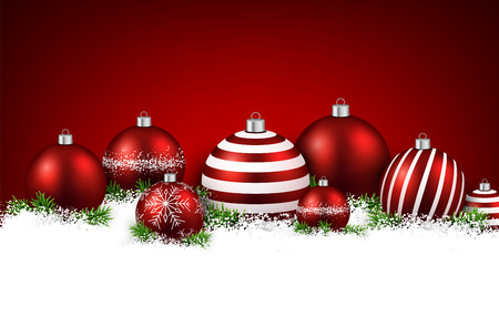 Abstract red christmas background with fir branches and balls. Vector illustration. Vector