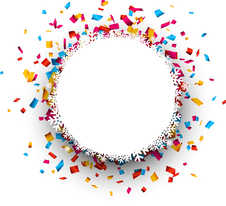 fun festival: Christmas paper round bauble over colorful confetti. Vector background.