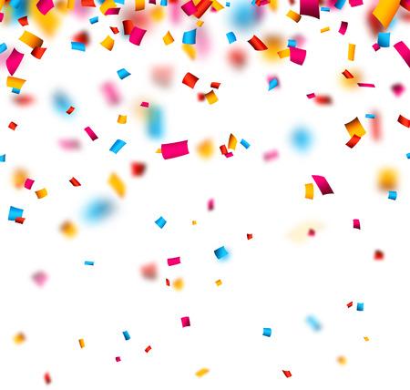 confetti background: Colorful celebration background with defocused confetti. Vector illustration.