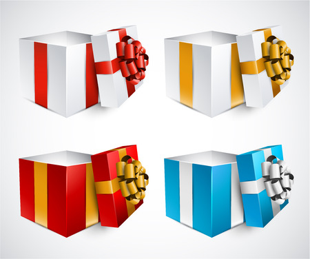 blue box: Collection of 3d opened gift boxes with satin bows. Realistic vector illustration.