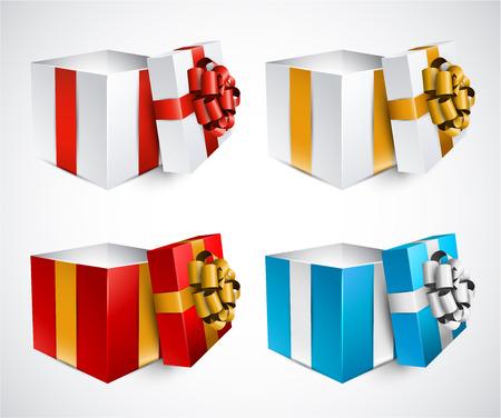 Sbírka 3d otevřel dárkové krabičky s saténové mašle. Realistické vektorové ilustrace.