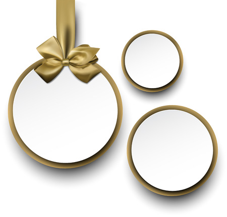 satin round: Christmas round gift cards with golden ribbons and satin bows. Vector illustration. Illustration