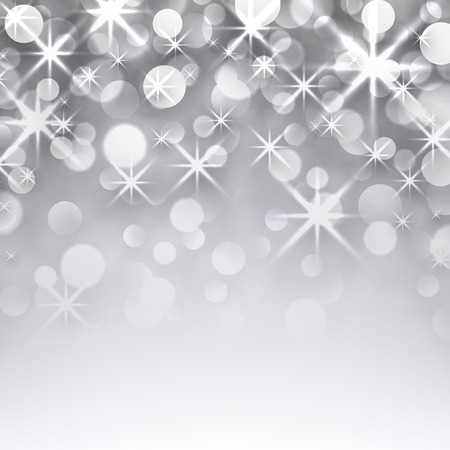 Silver starry christmas background. Greeting card. Vector illustration. Vector
