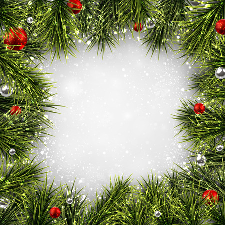 Winter background with spruce twigs and red baubles.  Vector