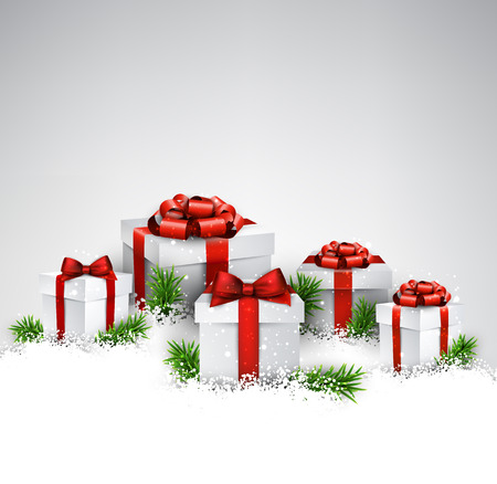Abstract christmas background with fir branches and realistic gift boxes. Vector