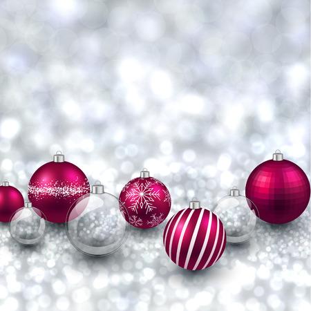 Silver defocused with magenta christmas balls background. Bright bokeh. Vector illustration. Vector
