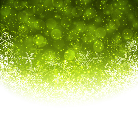 Green winter abstract background. Christmas background with snowflakes. Vector. Vector