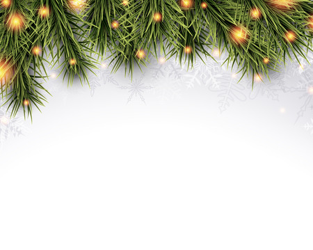 decoration lights: Winter abstract background with spruce twigs. Christmas vector wallpaper. Eps10.