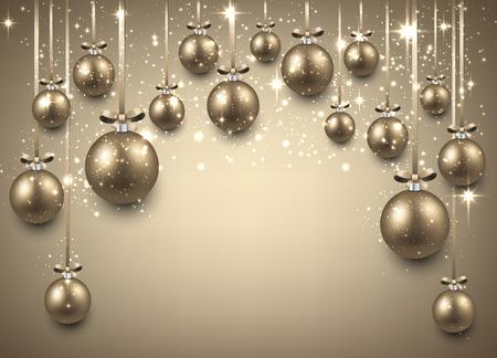 Abstracte boog achtergrond met gouden kerstballen. Vector illustratie.