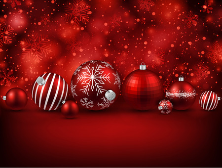 Set of red christmas balls background. Vector illustration. Vector