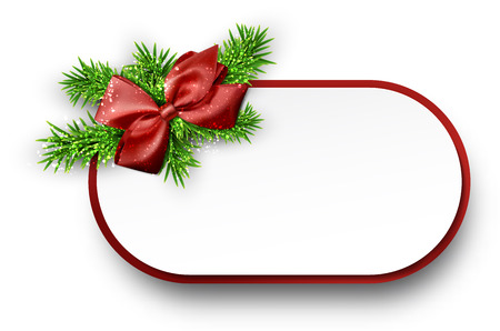 Christmas gift card with red bow and spruce twigs. Vector illustration. Vector