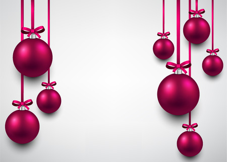 fuchsia: Abstract background with magenta christmas balls. Vector illustration.