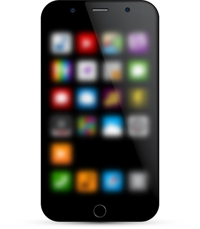 Vector illustration of modern realistic smartphone with defocused background.   Vector