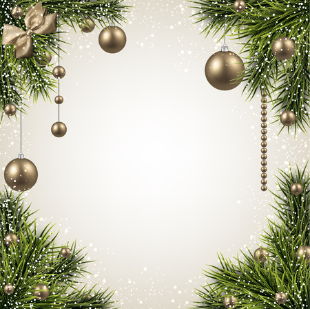 Winter background with spruce twigs and golden baubles. Christmas vector frame.   Vector