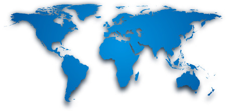 Blue world map with shadow. Vector illustration.