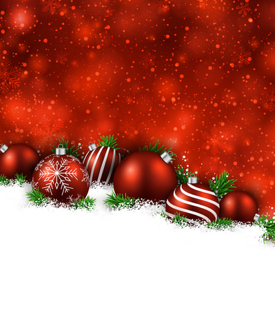 winter holidays: Abstract red christmas background with fir branches and balls. Vector illustration.
