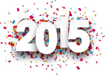 meses del año: Feliz nuevo año 2015 con confeti. Vector de papel ilustración.