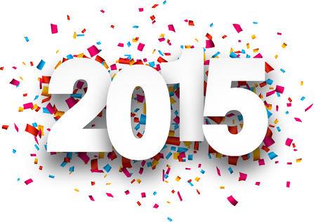Happy 2015 new year with confetti. Vector paper illustration. Vector