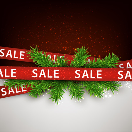 Christmas red sale ribbons over spruce branches. Vector winter illustration. Vector
