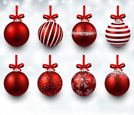 Red christmas balls with gift bows. Realistic decorations. Vector illustration. Vector