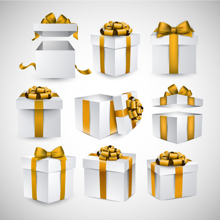 Collection of 3d gift boxes with satin golden bows. Realistic vector illustration. Vector