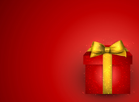 Red background with 3d realistic gift box and golden bow. Vector illustration. Vector