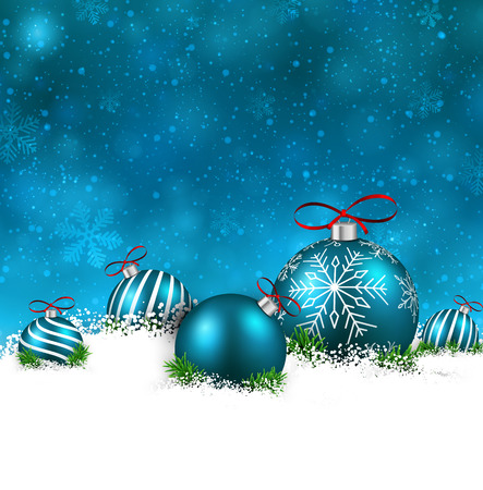 blue christmas background with fir branches and balls. Vector illustration. Vector