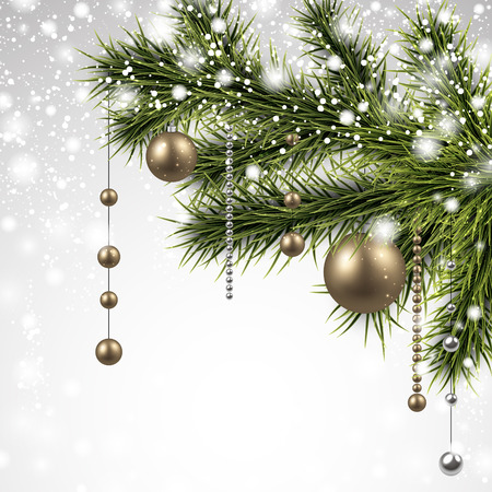 Winter background with spruce branches and golden baubles. Christmas vector illustration. Eps10. Vector